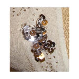 Lulumari Tops - New LULUMARI Silk Ivory Flowy Sequin Top M/L 8-10